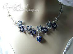 f92591fa2798 Collar Swarovski azul marino flor collar de plata de cristal Collares De  Plata