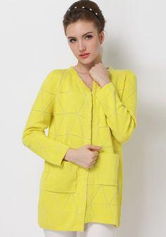 Yellow Geometric Print Knit Cardigan
