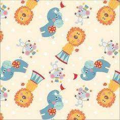 David Textiles - Cream Circus Animal Toss - cotton fabric