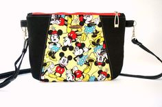 Disney Cross Body Bag, Mickey Mouse Sling Bag, Hipster Bag, Disney Trip Bag, Disney Gifts, Gift under 30, Gift for her  Dimension : 10 W x 7.5 H  - Main Fabric : Licensed Disney Cotton Fabric - Accent Fabric : Black linen fabric - Long adjustable and removable strap, with buttons. - Interior Hipster Bag, Handmade Bags, Etsy Handmade, Travel Bags, Travel Gifts, Everyday Bag, Travel Accessories, Cross Body, Linen Fabric