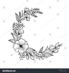 Hand Drawn Flowers Leaves Line Art Stock-Vektorgrafik (Lizenzfrei) 1071396965 Diy Embroidery Flowers, Embroidery Hoop Art, Hand Embroidery Designs, Floral Drawing, Flower Design Drawing, Wreath Drawing, Hand Drawn Flowers, Line Art, Art Drawings