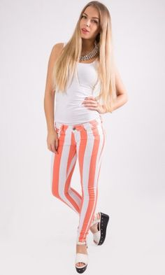 Skinny Fit Colour White Striped Stretch  Denim Jeans Orange