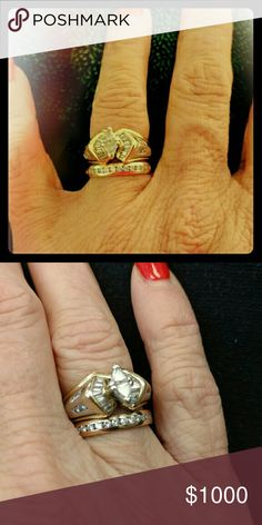 14 kt. white/yellow genuine diamond wed/ann set EUC and regularly inspected per warranty with prongs totally rebuilt on engagement ring.  Retails for $3000, would like to get $1000, but price is negotiable.  Size 5 3/4, can be resized.  Have paperwork. Not a single marquise cut diamond but two trillion cut diamonds mounted as a marquise shaped central diamond accented by 16 diamond baquettes & 8 round diamonds. Set is 7/8 t.c.w  and anniversary band is 1/4 t.c.w. with 12 channel set…