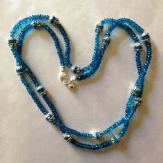 Genuine #Apatite #gemstones compete for attention with #Sterling silver capped #Swarovski crystals, the color of the Caribbean~ #jewelry