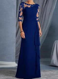 Shop Round Neck Lace Plain Haif Sleeve Maxi Dress online with high quality and hurry to get fashion on quickly Elegant Maxi Dress, Elegant Dresses For Women, Cute Dresses, Strapless Dress Formal, Formal Dresses, Maxi Dresses, Elegant Party Dresses, Awesome Dresses, Cheap Dresses