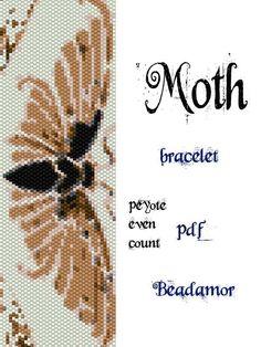 Peyote Pattern for bracelet: Moth - INSTANT DOWNLOAD pdf by Beadamor on Etsy