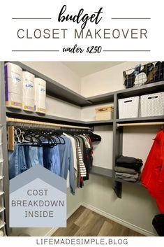 Master closet organization | Master closet ideas, walk in layout, budget friendly storage solutions. Closet makeover done in under $250