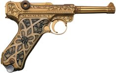 Exceptionally rare cased, engraved, and gold plated Krieghoff presentation Luger pistol with carved ivory grips.  This rare Luger was originally owned by the Nazi Reichsmarshall Hermann Goering.  After the war, it came under the ownership of Allied Supreme Commander Gen. Dwight D. Eisenhower.     Estimated Value: $50,000 - $100,000