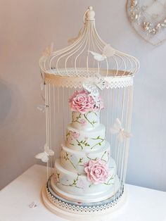 Love birds hand painted cake in bird cage cake stand - by Paula @ CakesDecor.com - cake decorating website