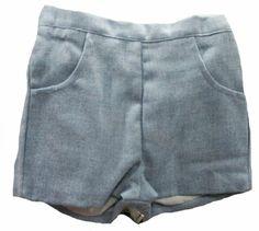 Pantalón corto de lana azul para niño de Eva Martínez - Pantalones de invierno para Niña y Niño hasta los 4 Años - Mundo Kiriko
