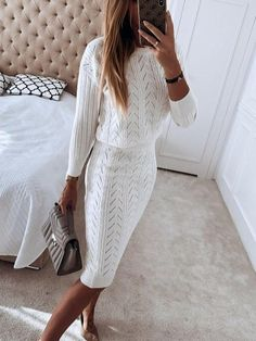 Casual Fashion Pure Color Long Sleeve Two-Piece Dress Winter Fashion Outfits, Look Fashion, Fall Outfits, Autumn Fashion, Fashion Dresses, Sunday Outfits, Estilo Casual Chic, Casual Chique, Winter Dresses