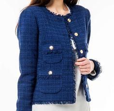 Alexandra tweed jacket dark blue • Veronica Virta