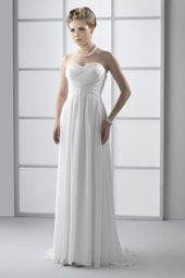 Pallas Athena wedding dress/gown- white sheath style wedding dress, strapless, and sweetheart neckline, grecian style wedding dress/gown. For the Bride Boutique Ft. Myers, Florida