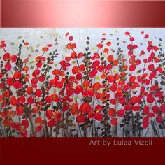 RED FLOWERS SILVER MIST-Original Modern Floral Fineart in red and silver on large canvas- by artist Luiza Vizoli -  www.ARTbyLuizaVizoli.com