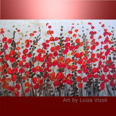 RED FLOWERS SILVER MIST-Original Modern Floral Fineart in red and silver on large canvas- by artist Luiza Vizoli -  www.ARTbyLuizaVizoli.com