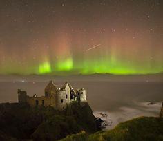 "nordicsublime: ""Northern lights over Dunluce Castle, Co Antrim, Ireland via pinterest """