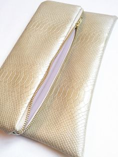 Champagne Snake Skin Fold Over Clutch by NellieAndPhoebs on Etsy