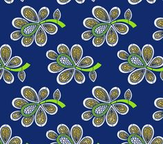 African Wax Indian Blue Cotton Fabric