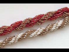 Double Spiral Beaded Rope - New Ideas Beaded Necklace Patterns, Beaded Bracelets Tutorial, Necklace Tutorial, Seed Bead Bracelets, Beading Patterns, Beaded Earrings, Embroidery Bracelets, Bead Jewellery, Jewelry Necklaces
