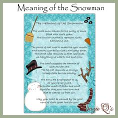 Meaning of the Snowman 5x7 Card Front - Digital Printable. $1.25, via Etsy.