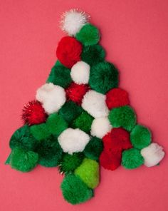 A pom pom Christmas tree dresses up holiday cards and decorations with some festive fuzz. Make a pom pom Christmas tree with your child this holiday season. Preschool Christmas, Preschool Crafts, Crafts For Kids, Arts And Crafts, Diy Crafts, Christmas Tree Dress, Christmas Wreaths, Christmas Crafts, Christmas Ornaments