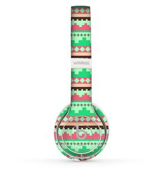 The Lime Green & Coral Tribal Ethic Geometric Pattern copy Skin Set for the Beats by Dre Solo 2 Wireless Headphones