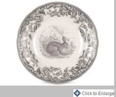 Delamere Rural Set of 4 Rabbit Bread And Butter Plates by Spode Material: Fine Porcelain Dimensions: 6 diam. Product Care: Dishwasher safe, warm oven only, microwave safe, freezer safe. White Dinner Plates, Dinner Plate Sets, Steak Plates, Teller Set, British Flowers, Soup Plating, Butter, Side Plates, Woodland Animals