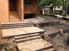 Steel framed stairs with Boulder inlay