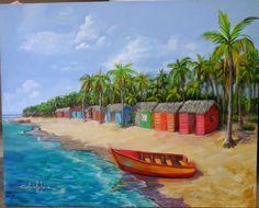 "Playa isla saona. REP. DOM Original painting  acrylic on canvas 40x50""  gabrielleperezartista@gmail.com"