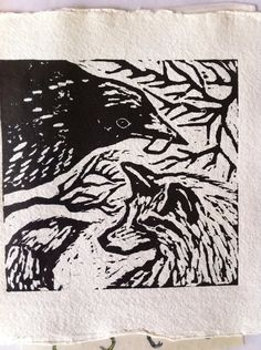 "love this sweet block print!! ""The Fox and the Crow"" by Emily Nagel"