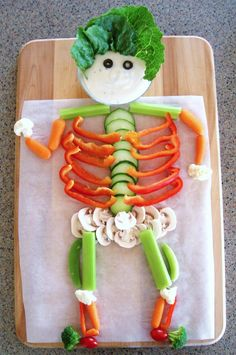 @PinFantasy - HALLOWEEN PARTY APPETIZERS: VEGGIE SKELETON (via Feeding Frenzy) (click on image or description for recipes)