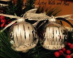 Wedding Gift clear Christmas ornament with snow, Personalized Bride Groom Mr. Mrs. Silver Anniversary Est. Year Last Name Bridal Shower Gift