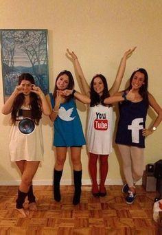 Social Networks: Kostümtrend 2015 - Karnevalskostüme selber machen: Kostümideen für Karneval 2016 - Topaktuell und ein cooles Gruppenkostüm: Social Networks. Dazu müsst ihr nur eure Favoriten der sozialen Netzwerke wie Facebook, Twitter & Co. heraussuchen und diese auf T-Shirts oder Tops verewigen...