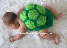 Caparazón tortuga para bebé a ganchillo