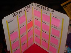 File folder and sticky note system to record student conferences