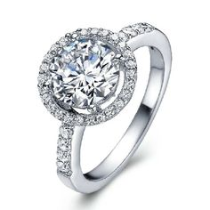 Stunning Cubic Zirconia Ring With White Gold Plated  - USD $31.95