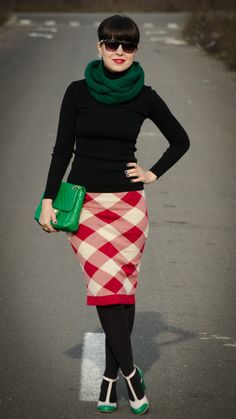 Christmas in red checkered pencil skirt