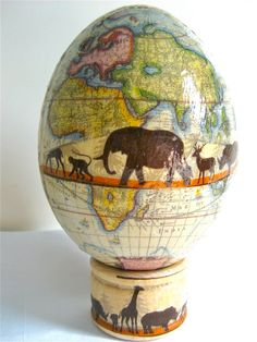 wow I love this! An ostrich egg painted as a map with an amazing design!