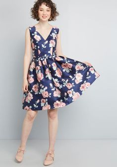 30080bc9872f6 Chi Chi London Chi Chi London Sweetly Celebrated Fit and Flare Dress in  Floral Navy Floral