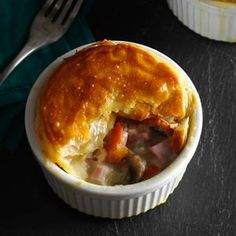 Ham and Leek Pies Recipe- Recipes I've been making these pies for years, so lots of friends and family now have the recipe. If you can't find leeks, a sweet or mild onion works just as well. Irish Recipes, Pie Recipes, Cooking Recipes, Recipies, Seafood Recipes, Yummy Recipes, Leftover Ham Recipes, Pork Recipes For Dinner, Leftover Turkey