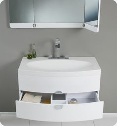 Fresca Energia White Modern Bathroom Vanity With Three Panel .