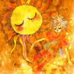 The illustration is in the same book of Sans soleil ville. Tangled Sun, Images Of Sun, Art Beauté, Good Day Sunshine, Sun Moon Stars, Sun Art, Leo Lionni, Mellow Yellow, The Dreamers