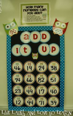 Teaching Blog Addict: Teacher Feature: Live Laugh and Love to Learn...Add It Up...like Boggle for Math...like Math Boggle, Boggle Board, Boggle Game, Math Bulletin Boards, Math Boards, Math Stations, Math Centers, Work Stations, Math Resources