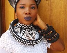 Zulu and Masai tribal combo crown, necklace, bracelet and earrings