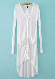 White Long Sleeve Pockets Sheer Dip Hem Cardigan - Sheinside.com
