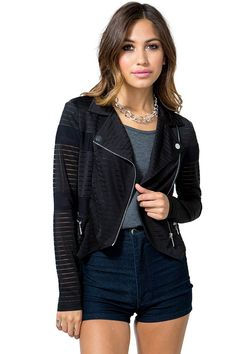 Make their hearts beat faster with this excitingly fierce moto jacket! Featuring tonal mesh insets and contrast trimming. Pointed lapels. Front zip closure. Decorative zip pockets. Long sleeves. Finished hem. Fitted. Partially lined.