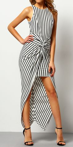 Black White Sleeveless Vertical Striped Knotted Asymmetric Dress