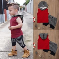 Cute Toddler Kids Baby Boy Hooded Vest Tops+Short Pants Outfits Clothes Set Pattern:Striped Co Stylish Toddler Girl, Toddler Boy Fashion, Toddler Boy Outfits, Baby & Toddler Clothing, Stylish Baby, Infant Clothing, Trendy Kids, Toddler Chores, Girl Clothing