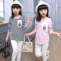 Kids Long Sleeve Striped T-Shirts For Girls Cotton Fashion Children Clothing O-Neck Pullover Girl T-Shirt Baby Clothes Girl Tops #Affiliate