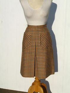 b2a4cd848 RESERVED for Kittentown Vintage 60s Midi Skirt / 1960s Skirt / Mustard and  Brow Plaid Skirt / Wool Skirt / Evan Picone / The Halle Bros Co